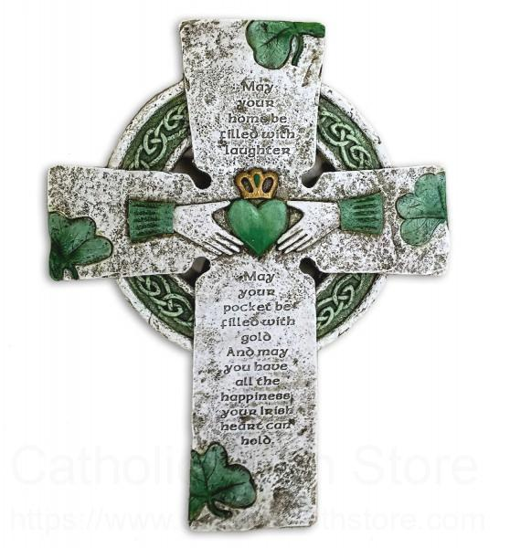 Irish Claddagh Wall Cross Hand Painted Resin 10h