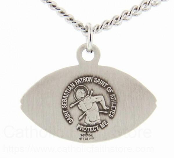 St sebastian football medal sterling silver sebastian patron saint of athletes protect me pendant measures 916h x 1w aloadofball Images