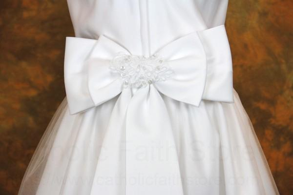 Plus Size First Communion Dress with Beaded Satin and Shawl