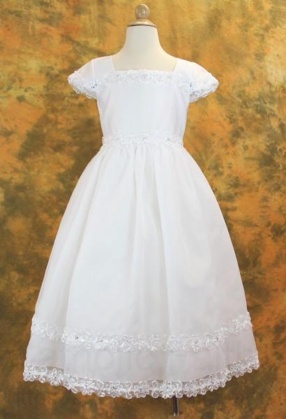 first communion dress with satin  organza and rhinestone