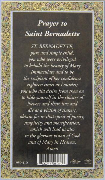 St Bernadette Medal In Pewter With Bi Fold Prayer Card