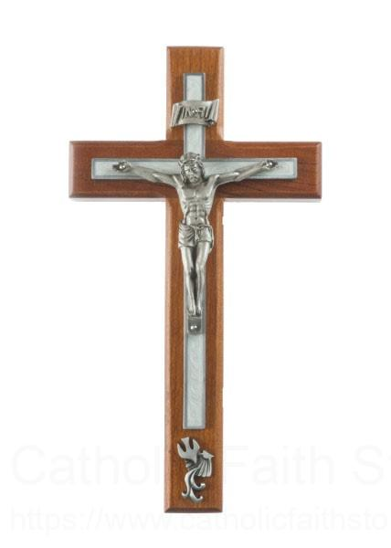 Cherry wood white baptism wall crucifix 8 inch - Exterior church crosses for sale ...