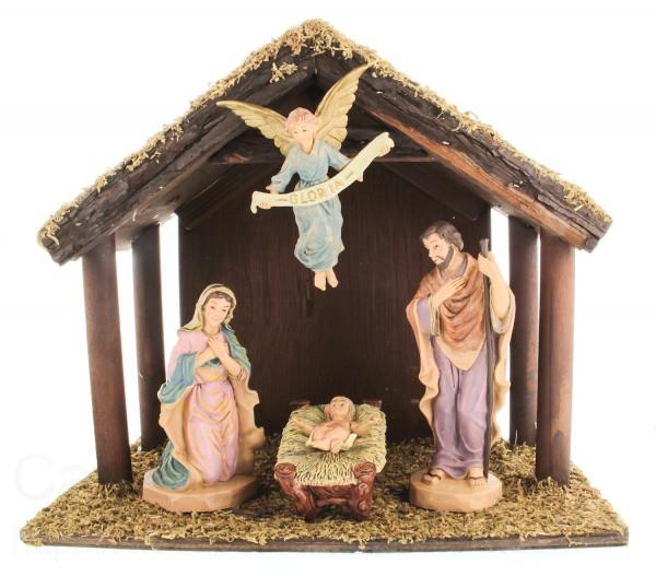 DiGiovanni Nativity Set With Wood Stable