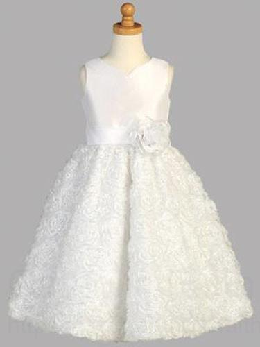 First Communion Dress With Wavy Ribbon Skirt