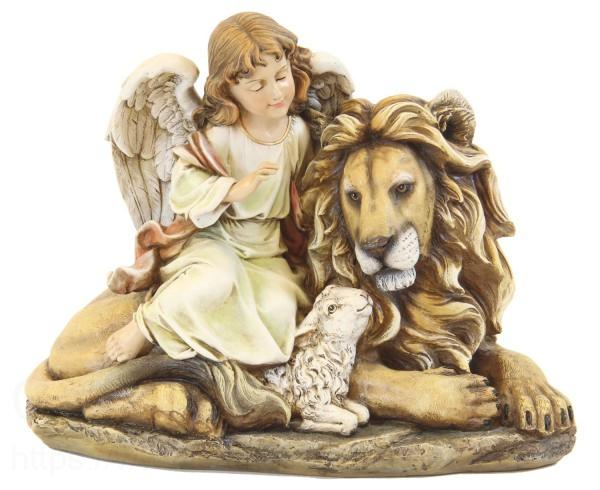 Lion and Lamb and Angel Statue 11.5