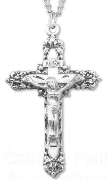 Mens fancy fleur de lis tip crucifix pendant mens fancy fleur de lis tip crucifix pendant sterling silver loading zoom roll on to zoom view larger aloadofball Images
