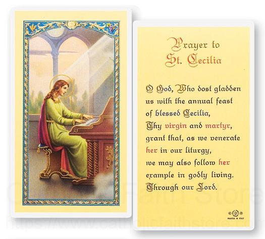 Prayer To St Cecilia Laminated Prayer Cards 25 Pack