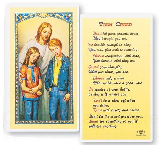 teen creed christ comforter laminated prayer cards 25 pack