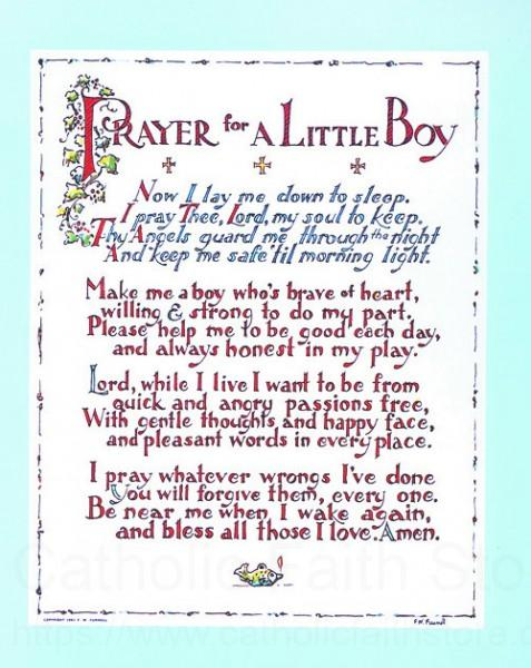 Prayer For A Little Boy Print Sold In 3 Per Pack