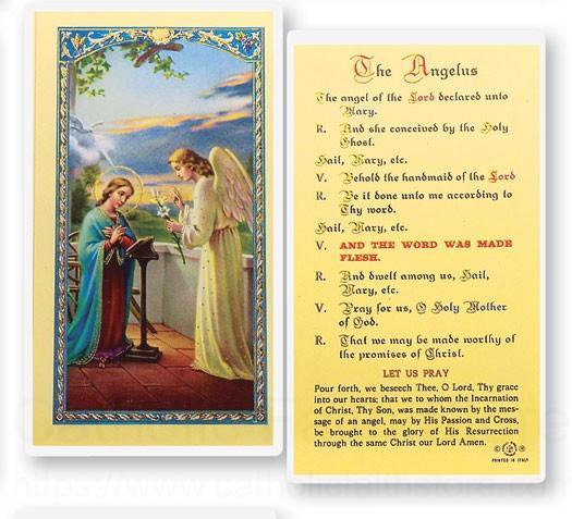 Angelus Prayer Annunciation Laminated Prayer Cards 25 Pack