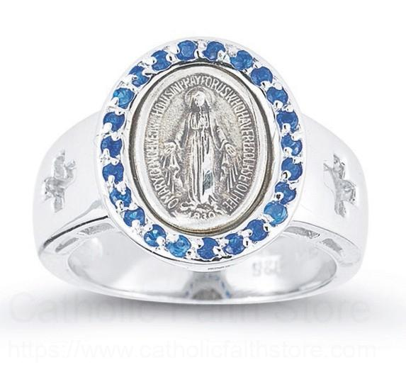 Women S Sapphire Crystal Miraculous Medal Ring Sterling Silver