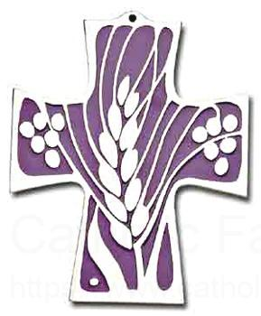 First Communion Wheat And Grapes Wall Cross 6 Inches