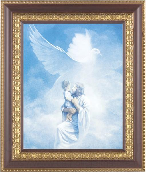 Jesus Holding Child In Heaven Framed Print