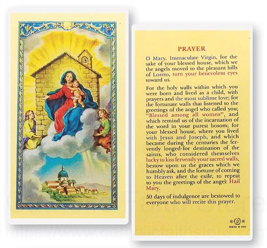 Wedding Gift List Virgin Holidays : Our Lady of Loreto House Laminated Prayer Cards 25 Pack from Catholic ...