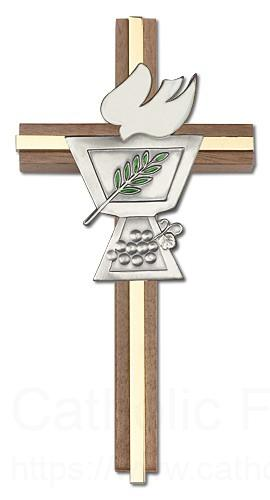 Confirmation chalice and dove wall cross in walnut wood - Exterior church crosses for sale ...