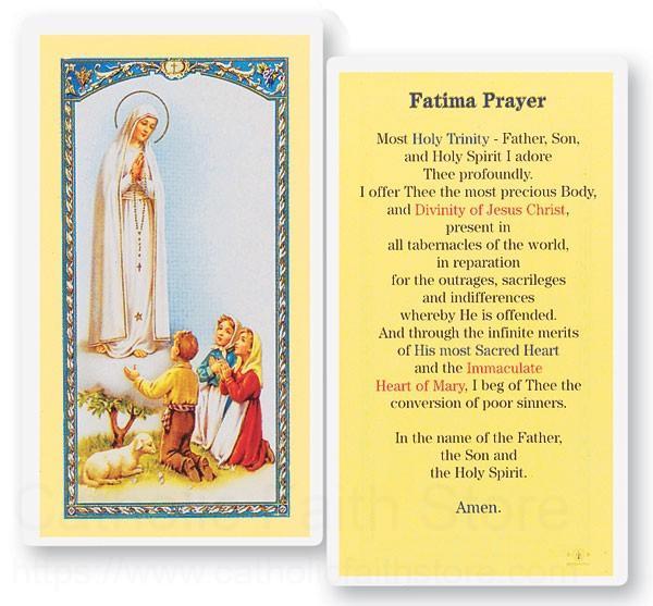 prayer to the our lady of fatima laminated prayer cards 25