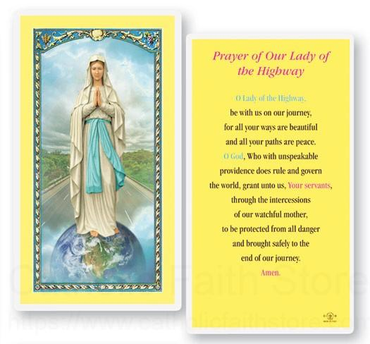Our Lady Of The Highway Laminated Prayer Cards 25 Pack