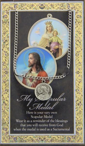 Scapular Medal In Pewter With Bi Fold Prayer Card