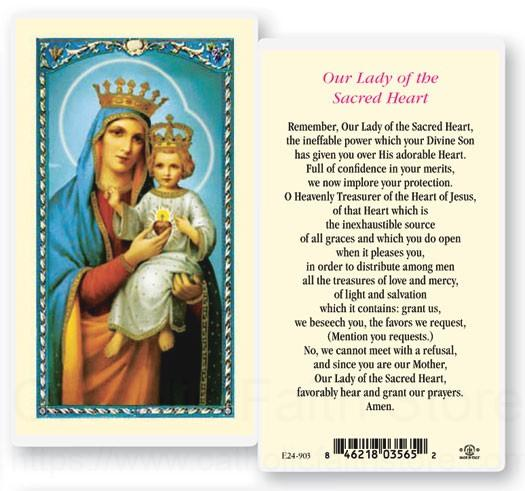 our lady of the sacred heart laminated prayer cards 25 pack