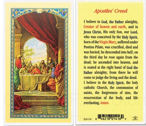 Apostle S Creed Last Supper Laminated Prayer Cards 25 Pack