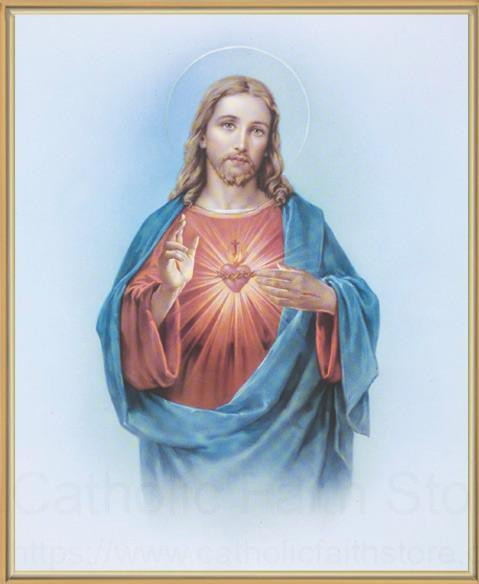 Sacred Heart Of Jesus Gold Framed Print
