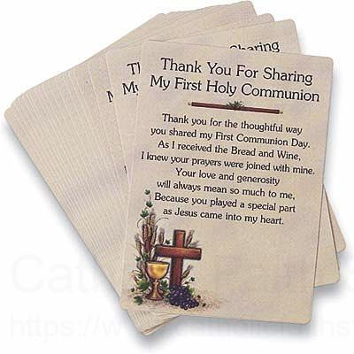 Thank You First Communion Prayer Cards from Catholic Faith Store ...