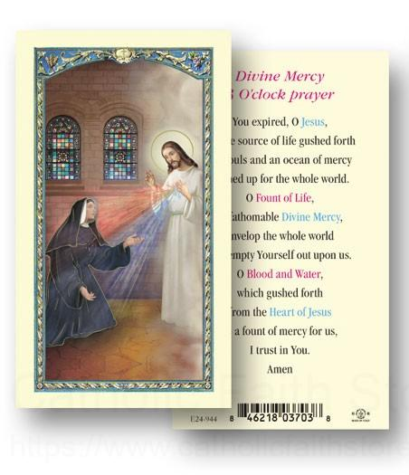 Divine Mercy 3 O Clock Laminated Prayer Cards 25 Pack