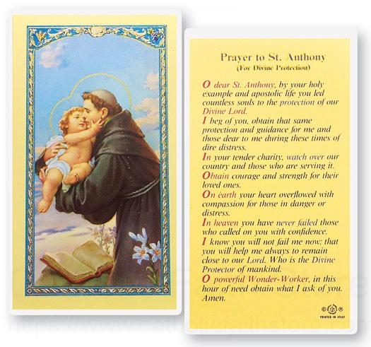 St Anthony Divine Protection Laminated Prayer Cards 25 Pack