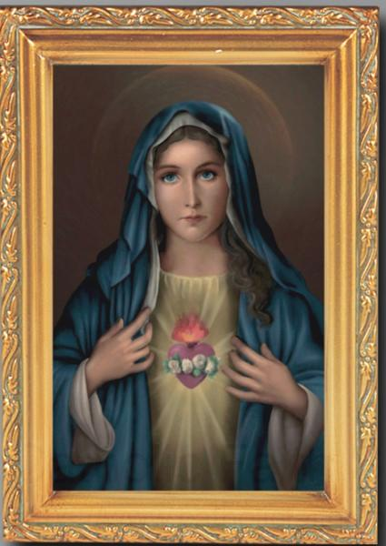 Immaculate Heart Of Mary Antique Gold Framed Print