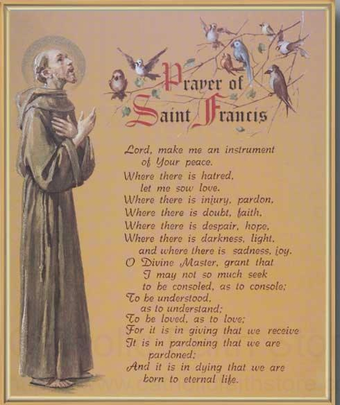 Prayer Of St Francis Gold Framed Print