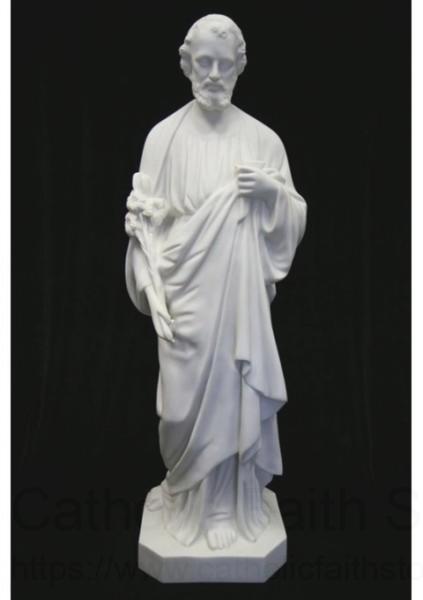 Saint Joseph The Worker Statue White Marble Composite 40