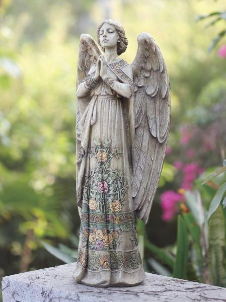 praying angel garden statue with floral accents 24quot