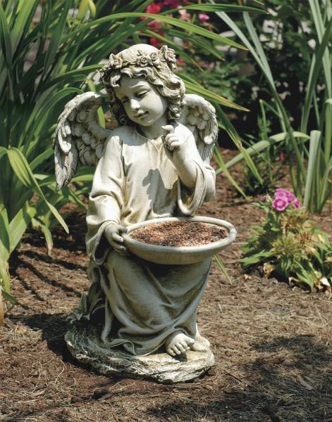 Sitting Garden Angel Holding Bird Feeder Statue 14 5 Inches