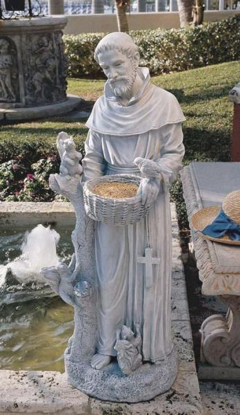 St Francis With Animals Bird Feeder Statue