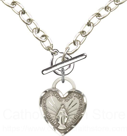 Sterling Silver Toggle Necklace with Miraculous Heart Medal