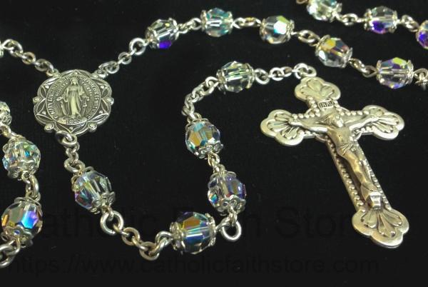 Swarovski Crystal Rosary In Sterling Silver With Baroque