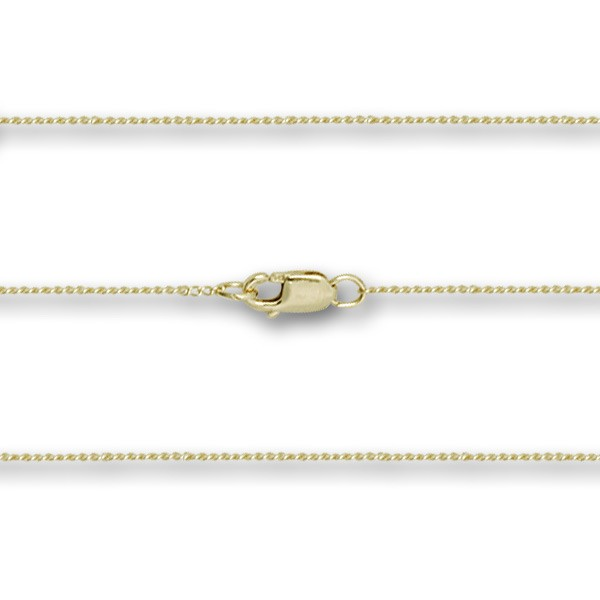14 Karat Gold Thin Curb Chain with Clasp - 14K Solid Gold