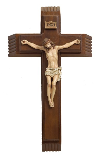 "4 Pc. Wood Sick Call Crucifix  Set - 13.25"" - Brown"