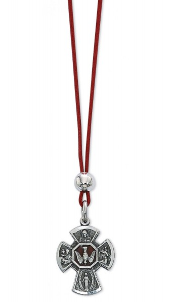 4 Way Confirmation Cross Pendant with Red Enamel - Silver | Red