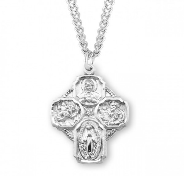 "4 Way Cross Pendant, Sterling Silver - 1 1/4""H - Silver"