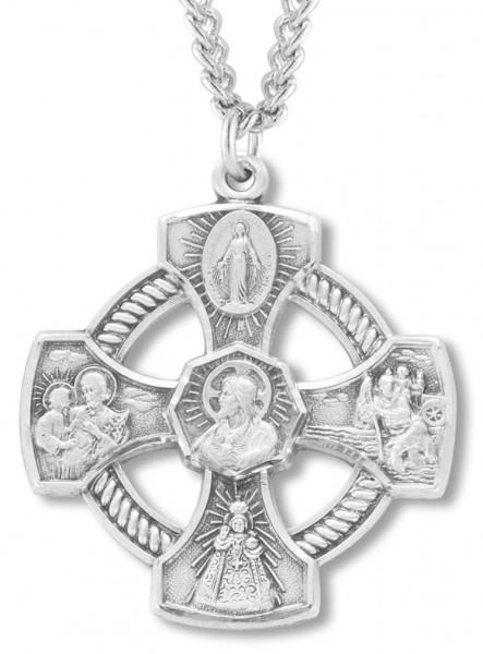 4 Way Cross, Sterling Silver with Chain - Sterling Silver