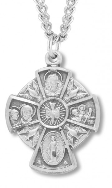 5 Way Cross with Holy Spirit Center - Sterling Silver
