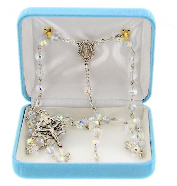 6mm Crystal Swarovski Bead Rosary in Sterling Silver - Crystal