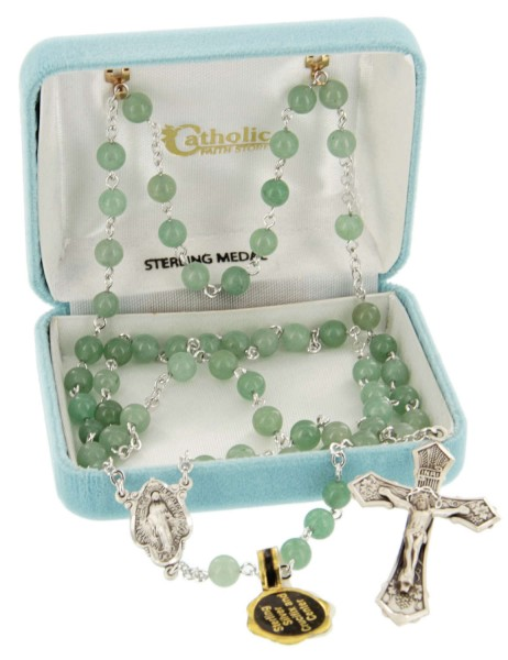 6mm Genuine Adventurine Bead Rosary in Sterling Silver - Green Mist