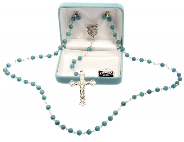 6mm Turquoise Bead Color Rosary in Sterling Silver - Silver | Blue