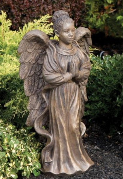 African American Garden Angel Female Statue 2475 Inches from