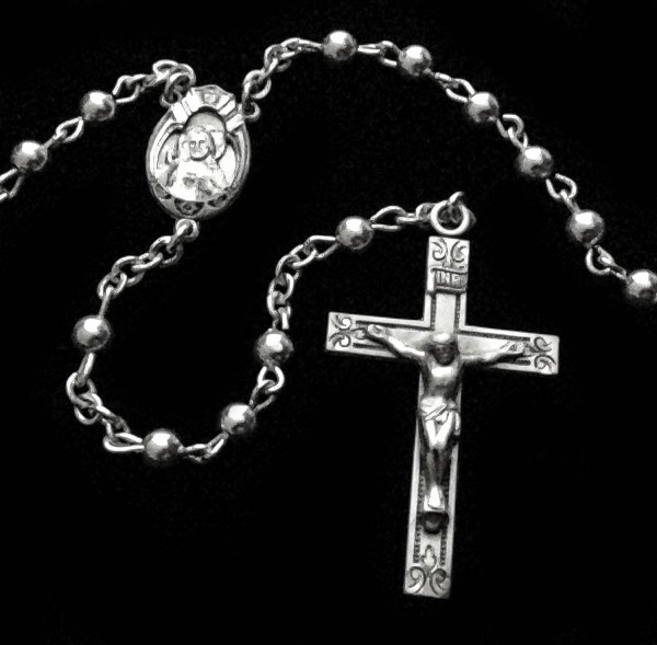 All Sterling Silver Rosary with Round 4mm Beads - Sterling Silver