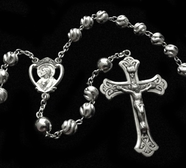 All Sterling Silver Swirl Frosted 7mm Rosary with Scapular Centerpiece - Sterling Silver