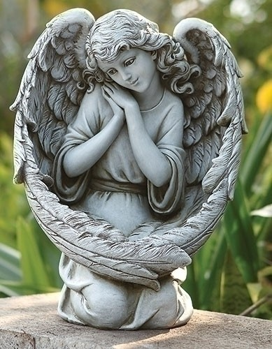 Angel Bird Feeder Garden Statue - 13 1/4 - Stone