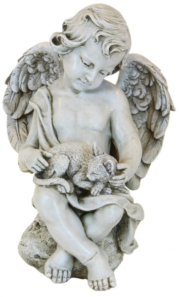 Angel Cherub with Kitten Garden Statue - 12 inch - Stone Finish